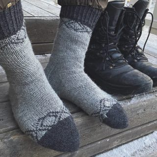 DK weight mens colorwork socks toe-up knitting pattern.