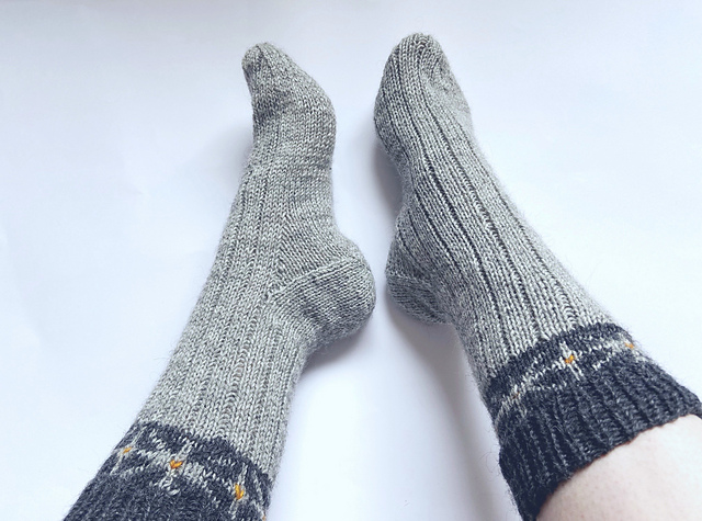 Tuiki tuiki colorwork socks with a french flap and gusset heel