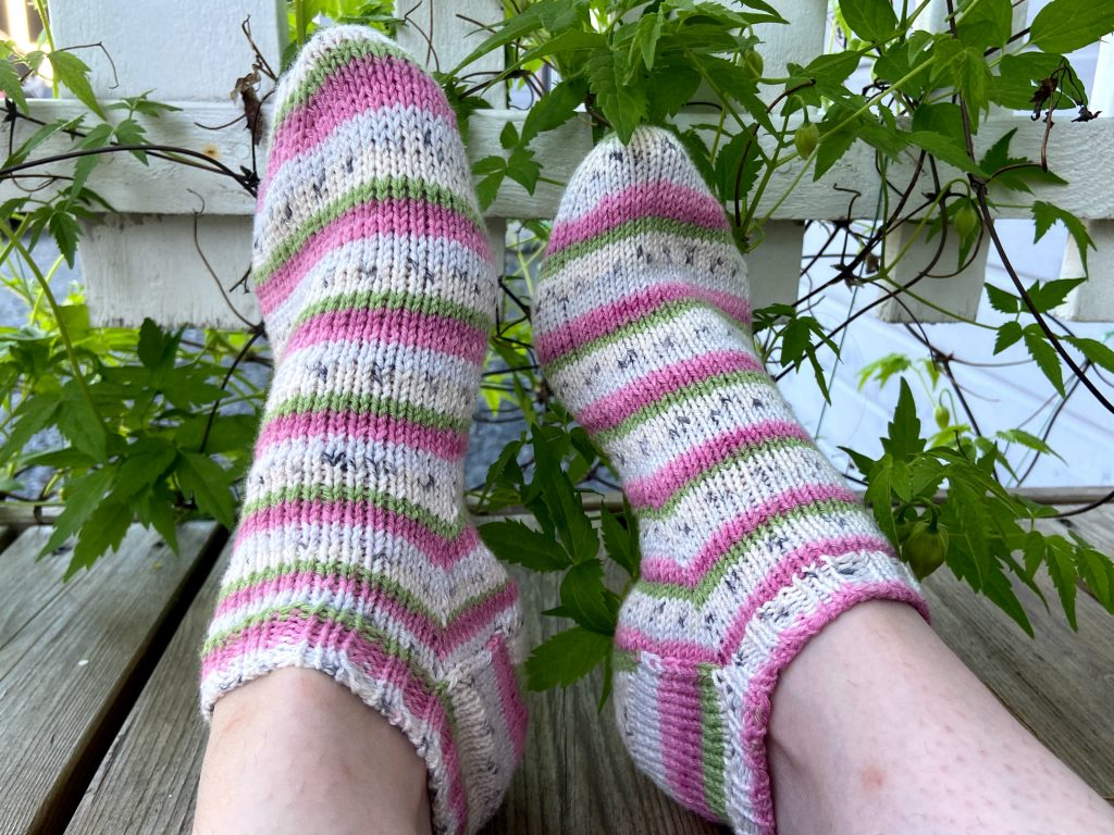 Short summer socks for sneakers knitted with Regia cotton tutti frutti summer sock yarn